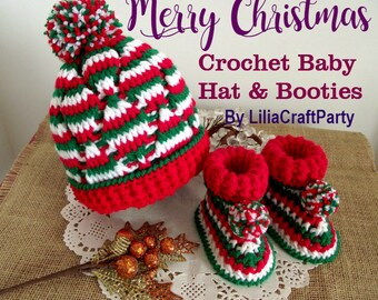 CROCHET  PATTERN Christmas Baby Set crochet Baby hat pattern crochet baby booties pattern holiday gift for babies pdf crochet pattern