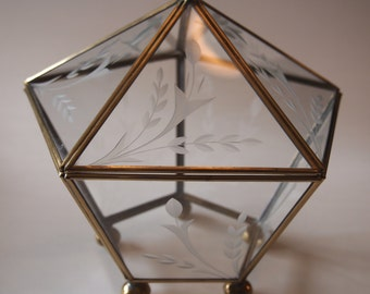 Brass and Etched Glass Trinket Box or Display Box