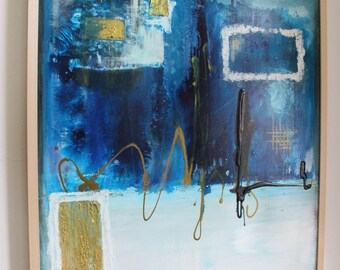 Winter is coming-unique on canvas, hand painted mural, abstract acrylic painting, single piece, 100cmx70cm, wall decoration, blue-white-gold