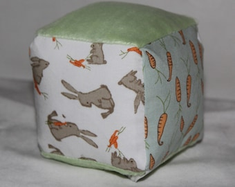 Small White Bunny Rabbit and Carrots Fabric Block Rattle