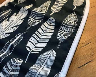 100% Cotton Pram Bassinet Liner - Navy Feathers