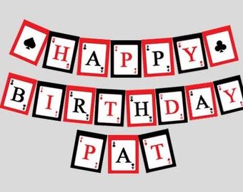 Las Vegas ~ Casino Night ~ Happy Birthday Banner ~ Digital File