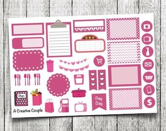 Pink Assortment Planner Stickers