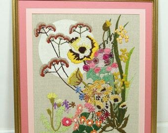 """Large Vintage 23"""" Pink Framed Flower Crewel Picture, Stitched Flowers Art Handmade"""
