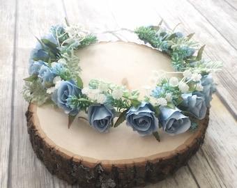 Rose Flower Crown - Blue Floral Crown - Maternity Photo Prop - Baby Shower Crown - Flower Halo - Floral Hair Wreath - Boho Flower Crown