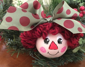 RAGGEDY ANN Hand Painted Personalized Christmas Ornament