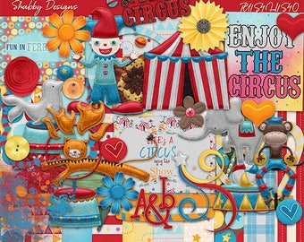 30%Off The Circus Digital Scrapbooking Kit - Instant Downloads-MonkeyCliparts ,ElephantCliparts,JokerCliparts,Loin Cliparts,Circus Cliparts