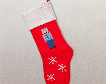 Hand-knitted Personalized Christmas Stockings: Soldier