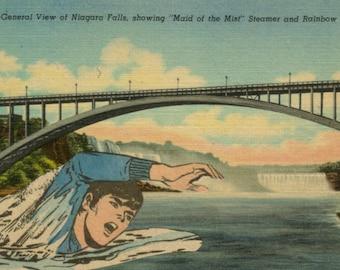 Original Collage, Comic Art, Weird Postcard, Comic Book Artwork