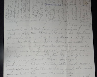 1900's Letter on Congressional Letterhead Representative Wife Writes to Son