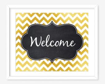 Printable welcome sign - faux gold printable art - chevron print - printable typography print - chalkboard print - DIGITAL DOWNLOAD