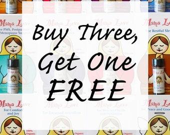 SALE Flower Essence Aromatherapy, Buy 3, Get 1 Free, Organic Reiki-Infused Bath, Body, Massage