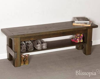 Storage Bench, Entryway or Mudroom Bench, Shoe Benches, Shoe Storage, Farmhouse Cottage Rustic Decor - Bench with shelf