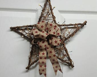 Country Star Wall Hanging, Grapevine Star, Patriotic Star, Patriotic Decor, Primitive Decor, Rustic Country Star Wall Hanging
