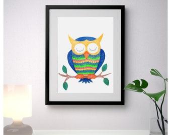 Owl painting/ owl nursery decor/ owl wall art/ owl nursery art/ nursery wall art/ nursery painting/ nursery wall decor/ original painting