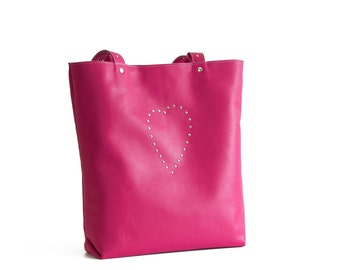 Leather bag, Bag with heart, Pink leather bag, Pink tote, Pink shoulder bag, Shoulder bag, Italian leather bag, Everyday bag