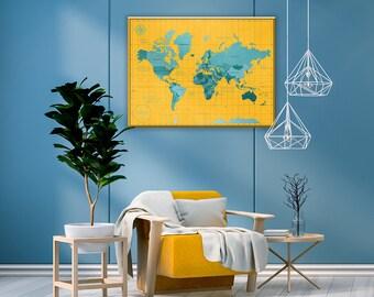 World map push pin / Push Pin Map Of The World / 1st anniversary gift for couple / World Map Push Pin Canvas