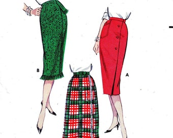 1950s Waist 25 Misses Wiggle Set of Skirts slim sheath with wrap around front Asymmetrical c 1958 Butterick 8638 50s