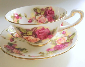 Royal Chelsea Rose Tea Cup and Saucer, Antique Tea Cups, English Bone China Cups, Tea Set, Rose Cups, Tea Cups and Saucers, Tea Party