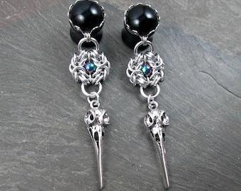 "Dangle Plugs - 9/16"" 14mm - 5/8"" 16mm - Crow Skull Plugs - Gothic Gauges - Skull Plugs - Gothic Jewelry - Plug Earrings"