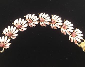 Lisner Bracelet Pink Daisy Flowers