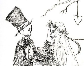 Skeleton Wedding, day of the dead, ink illustration, Bride and Groom, Giclee Print ink drawing,