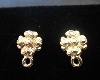 2 pc. Vermeil, 18k gold over 925 sterling silver flower post earrings,earring posts,vermeil post earrings, gold flower post earrings