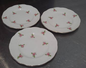 3 Pink Roses Vintage tea Side Cake Sandwich Plate Plates 'Cotswold'