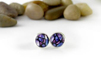 Purple Stud Earrings - Stained Glass - Violet and Purple Earrings - Silver Earrings - Mosaic Earrings - Handmade Jewelry - Glass Earrings