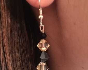 Yellow and Black Swarvoski Earrings