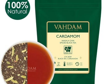 Original Cardamom Chai Tea Loose Leaf (7oz, 100 Cups), 100% NATURAL crushed Cardamom Pods blended with Fresh Black Tea, Masala Chai,