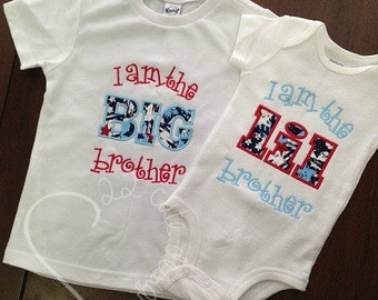 Little Brother Shirt Name Chevron Polka Dot Embroidered Applique - White Shirt 100% Cotton - Made to Order