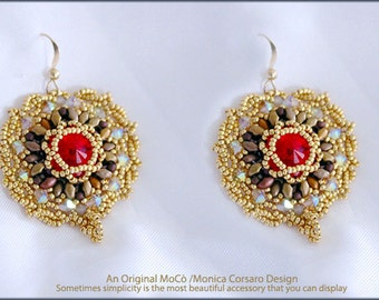 DIY Photo Tutorial Eng-ITA *KinKin*Earrings ,PDF Pattern 94 with Rivoli,swarovski,tila, miniduo, seed beads,instructions,beadweaving