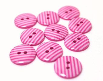 Hot pink and white striped 2 hole buttons. 15mm. Pack of 10