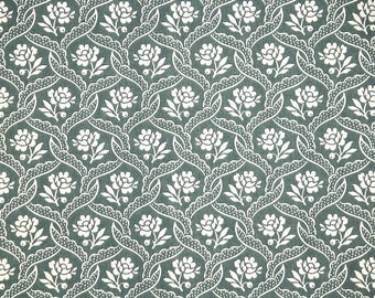 1940s Vintage Wallpaper by the Yard - White Flowers on Green Floral Wallpaper