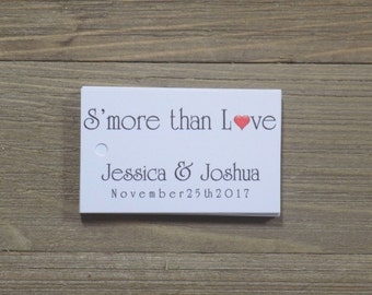 S'more than Love Favor Tags with Bride and Grooms Names and DateWedding Favors -Favor Tags -Thank you Tags -Personalized Favors -Bridal Tags