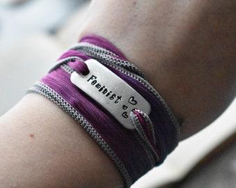 Feminist  Bracelet- Activist Advocacy Jewelry- Purple Silk Wrap- Metal Bracelet Feminist Women's Rights Hand Stamped