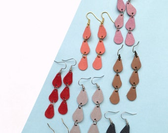 9 colors- Suede Triple Raindrop Earring