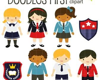 Prep School Kids Digital Clip Art for Scrapbooking Card Making Cupcake Toppers Paper Crafts
