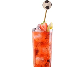 12 Soccer Ball Drink Stirrers, Cupcake Toppers, Cake Toppers, Cocktail Stirrers, Swizzle Sticks  - No1132