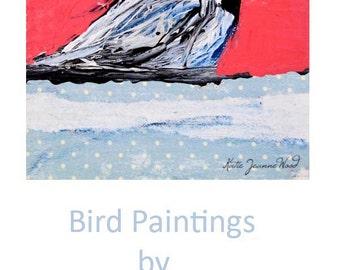 Pink Chickadee Bird Painting. Mixed Media Collage Art. Cottage Chic Decor. Wildlife Animal Art. 13