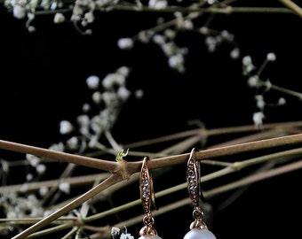 Bridal wedding earrings,  gold filled , Swarovski pearls