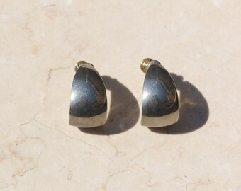 minimal silver twist back earrings / silver tone hoops