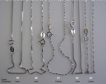 Platinum plated over 925 Sterling Silver Box chain, Bar chain, Twist chain, Curb chain, Singapore chain, Necklace, Length: 16 inches.