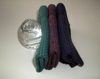 Dishcloths Knit in Cotton, Eggplant, Lt. Dusty Teal, Eggplant/AppleRed/Lt Dusty Teal, Dish cloth, Wash Cloth,