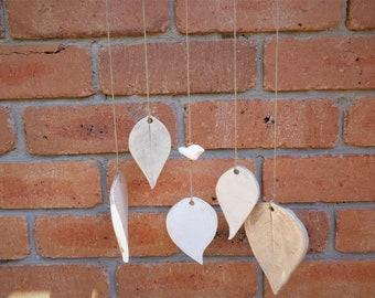 Ceramic leaf wind chime, botanical pottery outdoor garden decoration, organic porch verandah windchime terrace or loggia hanging mobile