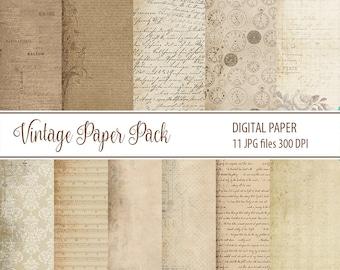 Antique Paper, old Vintage Paper Pack, Digital paper, Digital Scrapbooking Paper, old Paper Black Friday