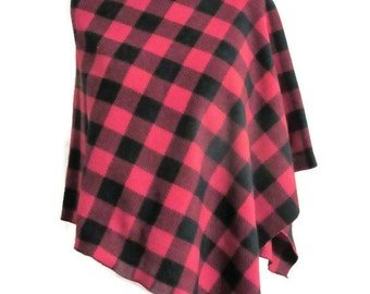 Buffalo Check,Lumberjack,Poncho,Asymmetrical,Wrap,Buffalo Plaid,Red,Black,Fleece,Gift for Her,Women,Handmade,Vintage Style
