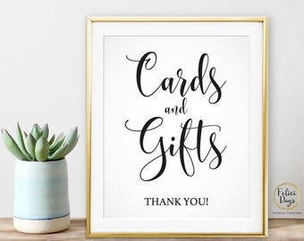 """Cards and Gifts Sign, DIY Wedding Sign Printable, Wedding Reception Sign, 8""""x10"""", Gift table sign, Calligraphy sign, Instant Download WS120"""