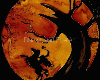 Sleepy Hollow Headless Horseman Original Oil Painting Print 8x10 Halloween Horror